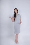 Платье для беременных и кормящих 09580 серый в полоску