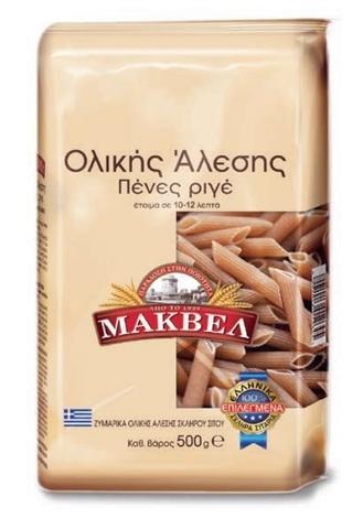 Паста Пенне Ригате (перья) грубого помола MAKVEL 500 гр.