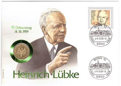 1 марка (D) Германия. 1988 год. UNC (в конверте со спецгашением)