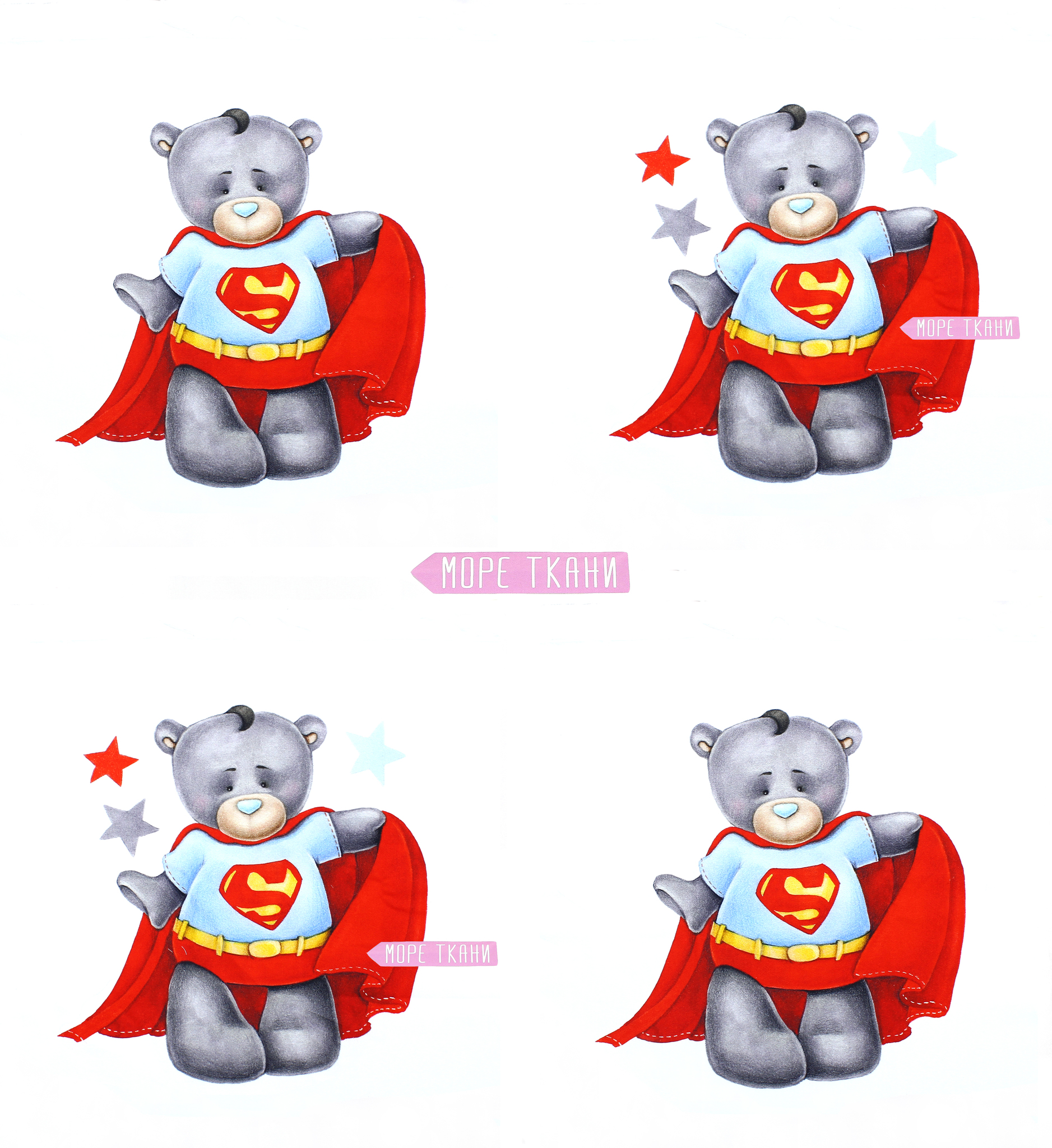 Панель(купон) мишка-супермен-35*35 см, 4 шт.
