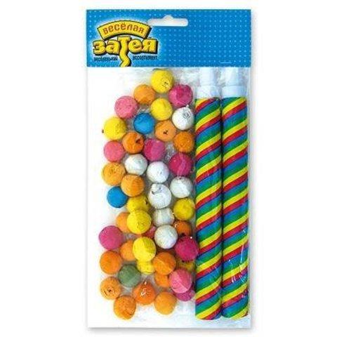 Трубочка 4шт с бумажн шариками 100шт/G