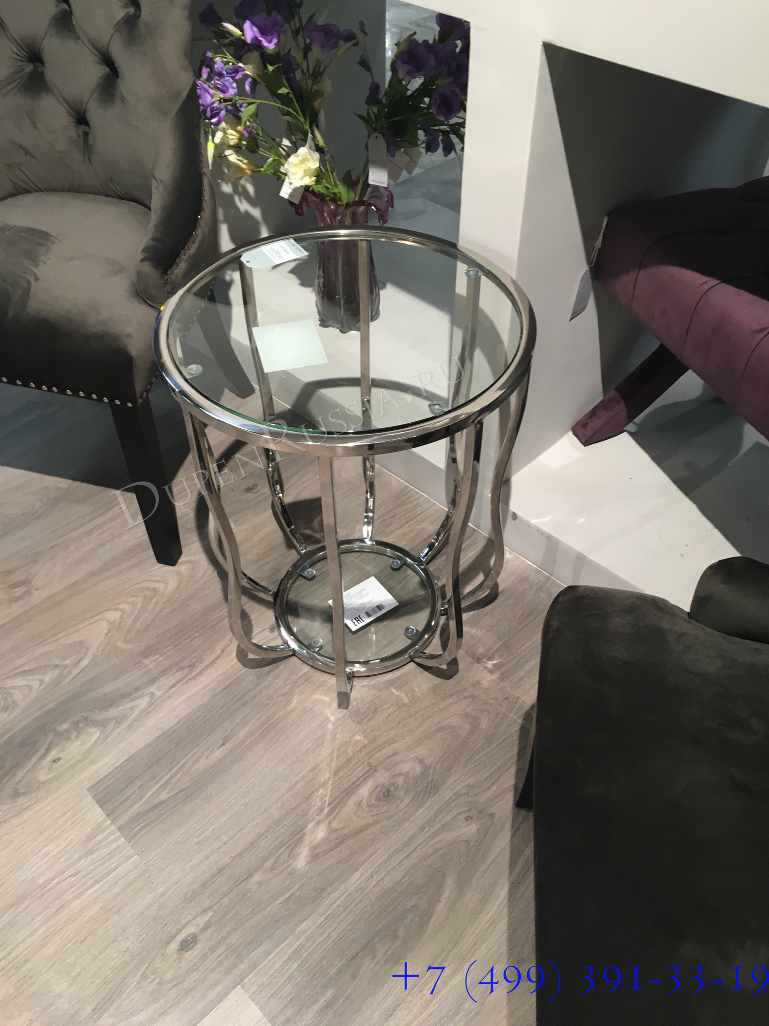 Стол журнальный 13RXET4037-SILVER стекло прозр./серебро d50*60см