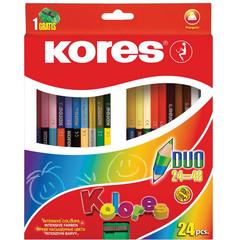 Карандаши цветные Kores Duo 48 цветов (двусторонние) трехгранные с точилкой