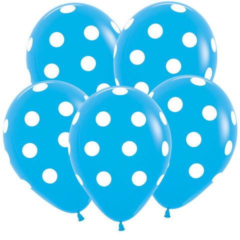 S 12'' Белые точки, Голубой (040), пастель, 5 ст.
