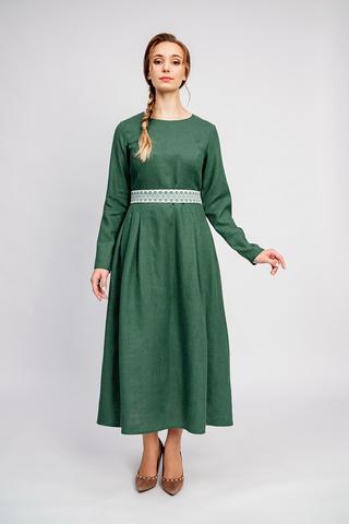 Платье с поясом льняное славянское