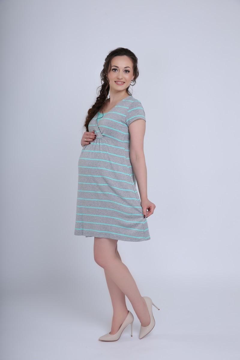Фото платье для беременных и кормящих MAMA`S FANTASY от магазина СкороМама, серый меланж, ментол, размеры.