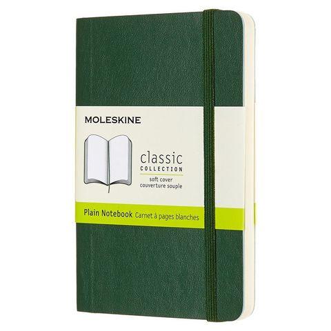 Блокнот Moleskine CLASSIC SOFT QP613K15 Pocket 90x140мм 192стр. нелинованный мягкая обложка зеленый