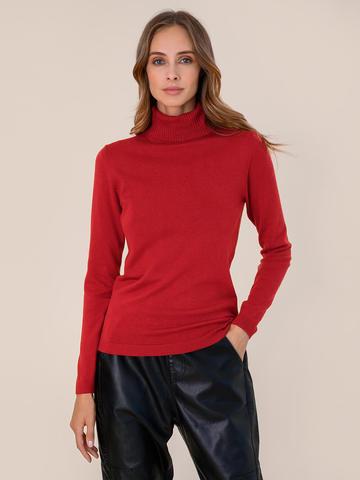 Женская водолазка красного цвета из шерсти и шелка - фото 2