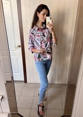 Бьянка. Молодіжна блуза вільного крою. Рожева абстракція