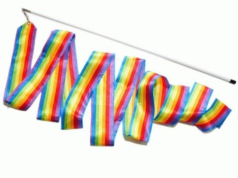 Лента гимнастическая с палочкой. Цвет радуга: PD-02-РА