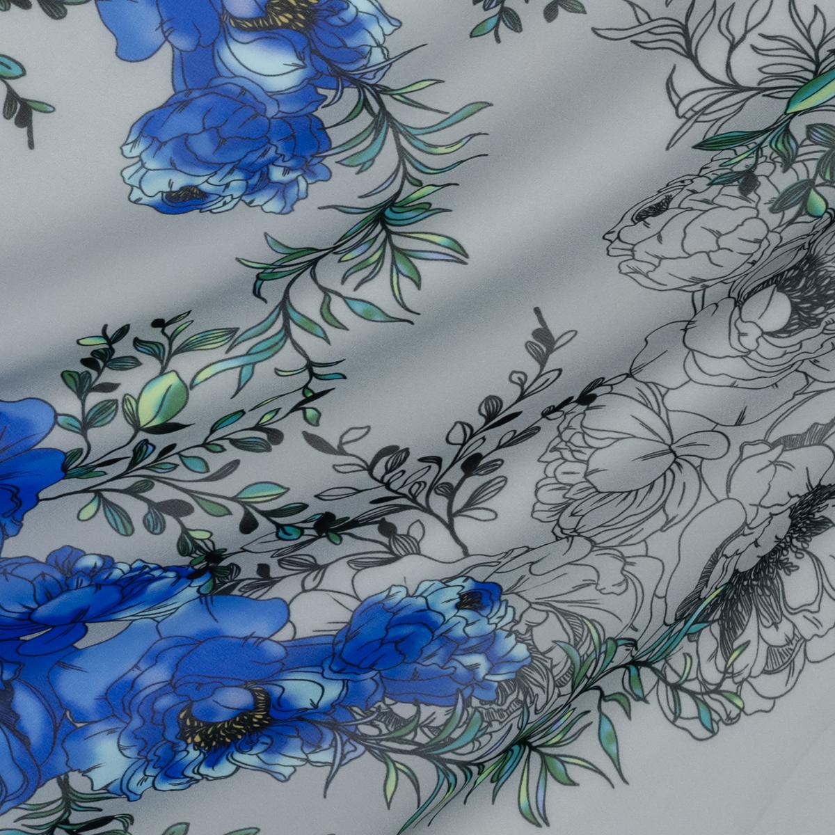 Легкий полупрозрачный крепдешин синие пионы