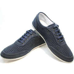 Кожаные кроссовки туфли мужские Vitto Men Shoes 3560 Navy Blue.