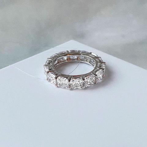 Кольцо-дорожка с цирконами-кушон (серебро 925)