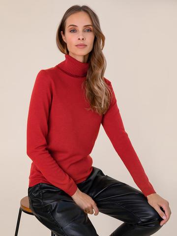 Женская водолазка красного цвета из шерсти и шелка - фото 3