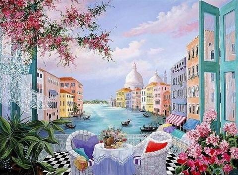 Картина раскраска по номерам 40x50 Вид с балкона в Венеции (арт. RA3825)