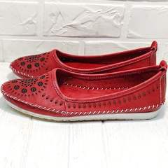 Модные балетки туфли женские на низком ходу Rozen 212 Red.