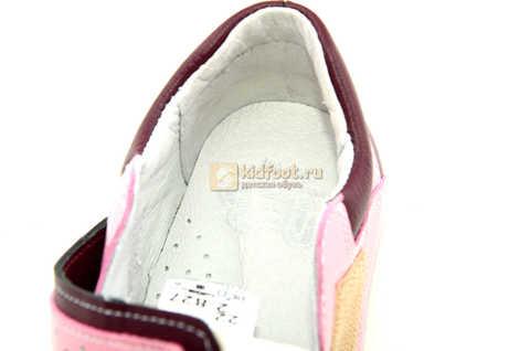 Ботинки Лель для девочек кожаные, демисезонные, ортопедические, на липучках, цвет бордо. Изображение 13 из 13.