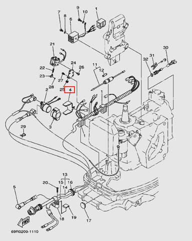 Фиксатор держателя реле для лодочного мотора Т30 Sea-PRO (9-4W)