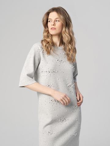 Женское платье цвета серый меланж из вискозы - фото 3