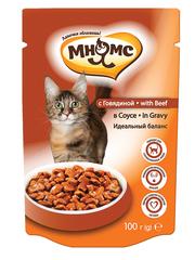 Пауч для кошек Мнямс с говядиной в соусе, идеальный баланс