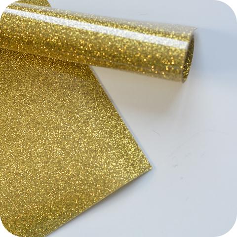Термотрансферная пленка с глиттером, цвет золото, размер отреза 25*25см