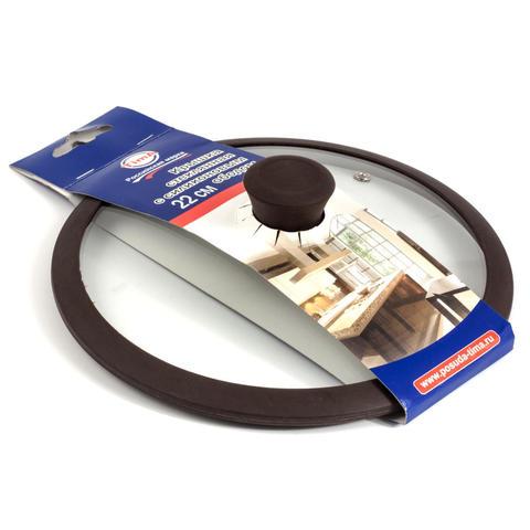 Крышка стеклянная с силиконовым ободом коричневая 220мм - TIMA