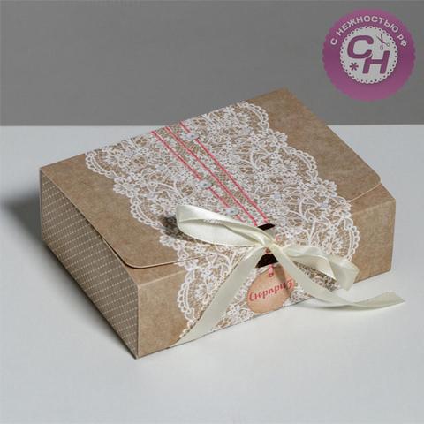Складная коробка подарочная с ленточкой, 16.5*12.5*5 см, 1 шт.