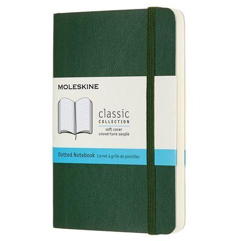 Блокнот Moleskine CLASSIC SOFT QP614K15 Pocket 90x140мм 192стр. пунктир мягкая обложка зеленый