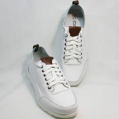 Белые кожаные кроссовки мужские Faber 193909-3 White.