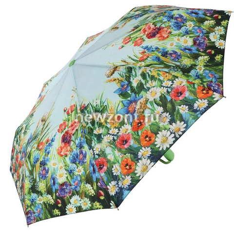 Плоский зелёный зонт автомат Lamberti «Ромашки и Маки»