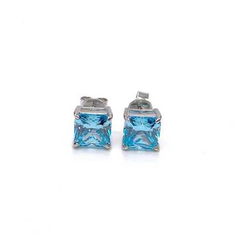 92244 - Серьги из серебра с  голубыми цирконами огранки принцесса