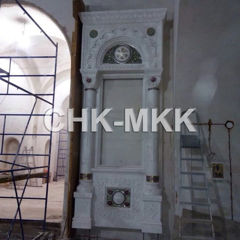 Резной мраморный Киот №2. Белый Мрамор - Сивек (Италия).
