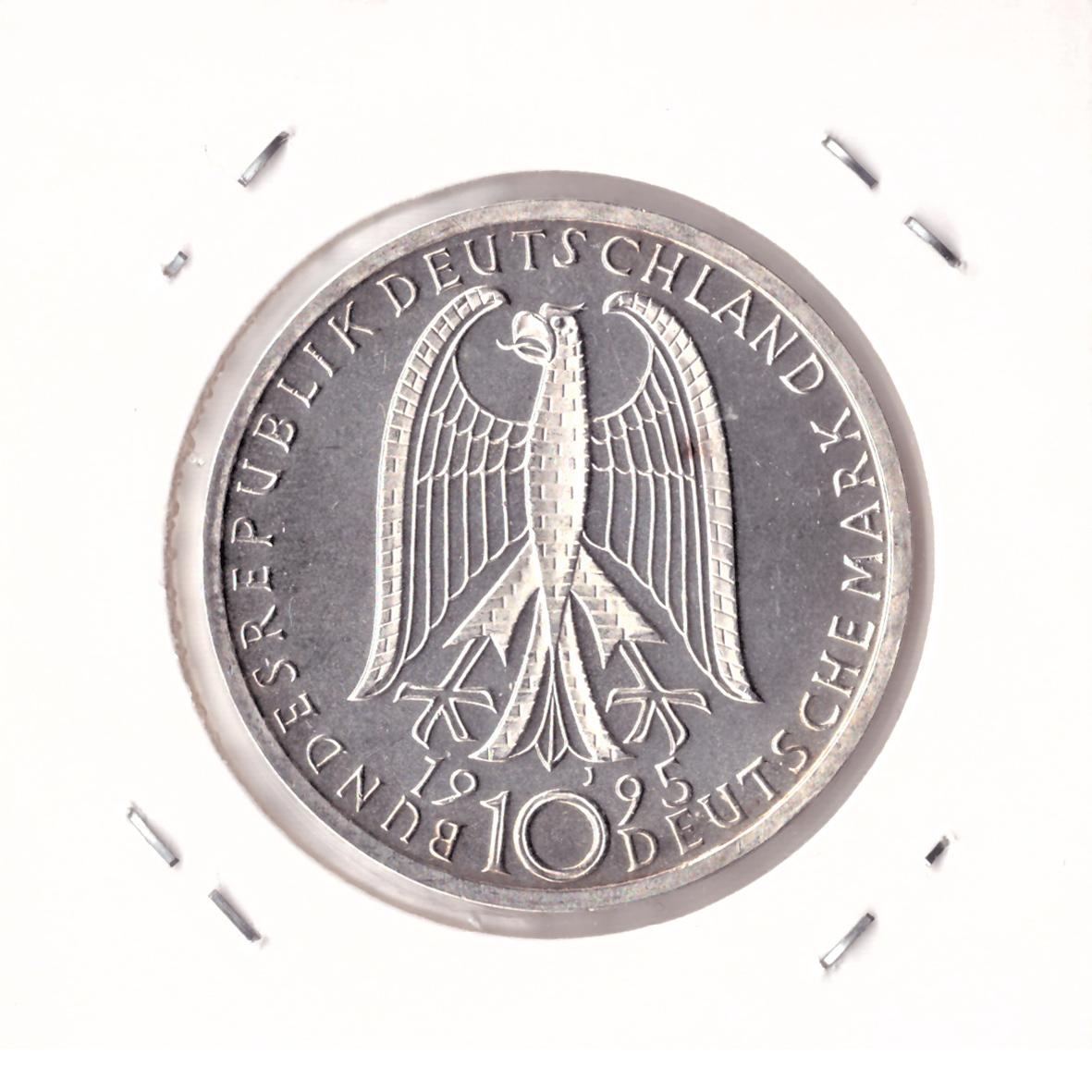 10 марок 1995 год (J) 50 лет со дня бомбардировки Дрездена (Мир и согласие), Германия. AU