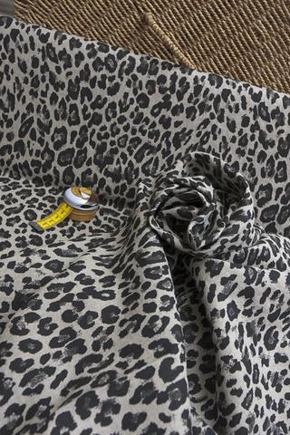 Лен смягченный, принт леопардовый 2