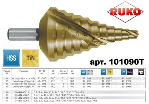 Сверло ступенчатое 6,5-40,5мм (Спиральное) HSS-G TiN 11ступ. L96мм хв.10мм Ruko 101090T
