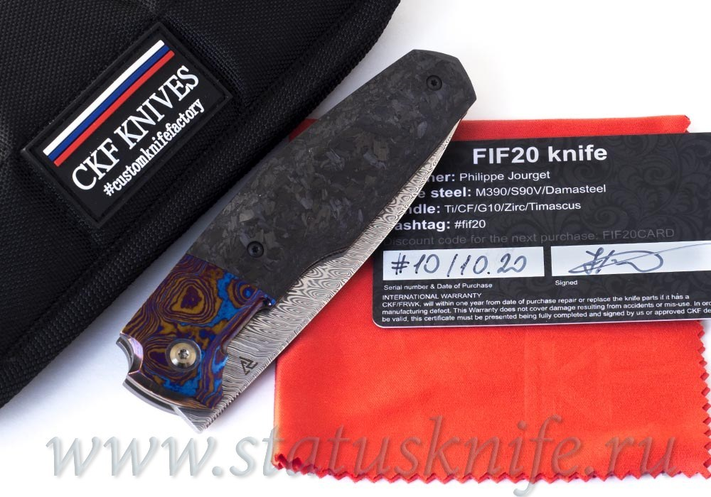 Нож CKF/Philippe Jourget FIF20 TimDam (Damasteel, Timascus, shred CF)