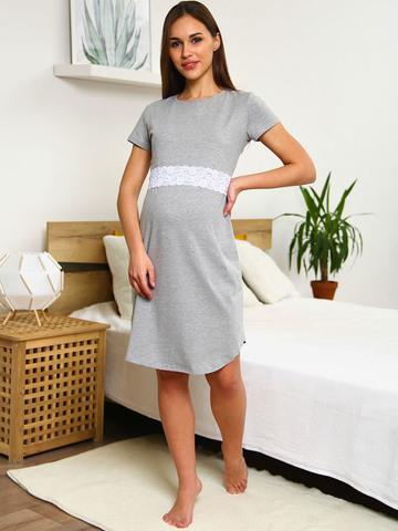 Мамаландия. Сорочка для беременных и кормящих с горизонтальным секретом и кружевом, серый меланж