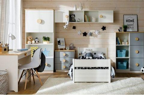 Мебель в детскую комнту Кидс 1 (орхидея/лак/голубой)