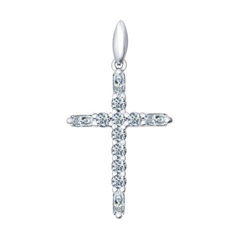 94031380 -Крест из серебра в стиле Tiffany с фианитами от SOKOLOV