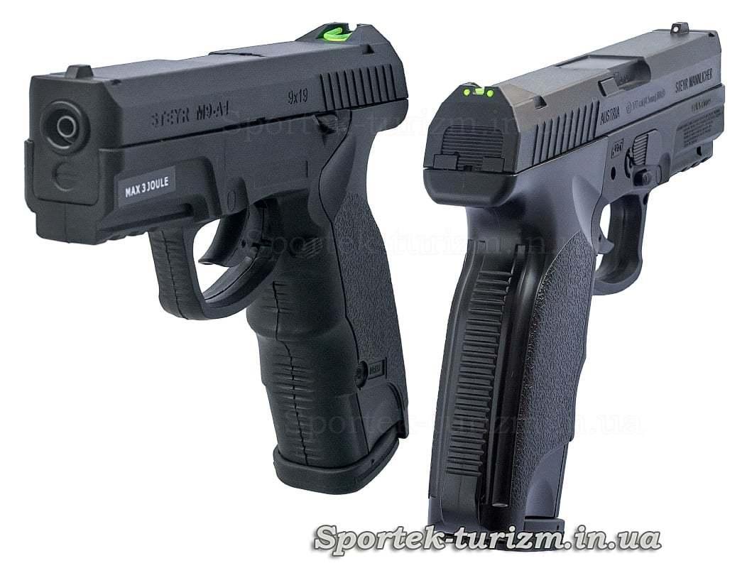 Вид середи і ззаду на пневматичний пістолет ASG Steyr M9-A1 4,5мм чорний