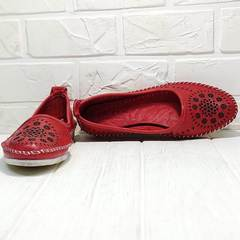 Стильные балетки мокасины женские кожаные Rozen 212 Red.