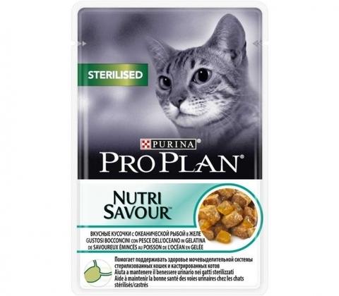Корм PURINA PRO PLAN CAT ADULT STERILISED OCEAN FISH для взрослых кастрированных котов и стерилизованных кошек с рыбой в желе 85 гр