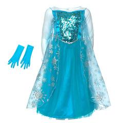 Платье Эльзы со снежинками в комплекте с перчатками