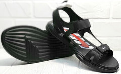 Открытые сандали босоножки на лето мужские Nike 40-3 Leather Black.