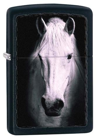 Зажигалка Zippo Белая лошадь, латунь с покрытием Black Matte, чёрная, матовая, 36x12x56 мм