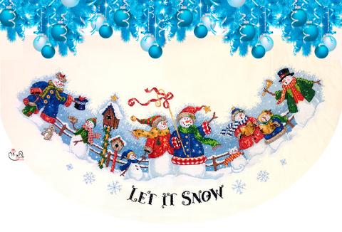 Набор для вышивания Скатерть (юбка) под елку. Снежные колядки.  Арт. 4009