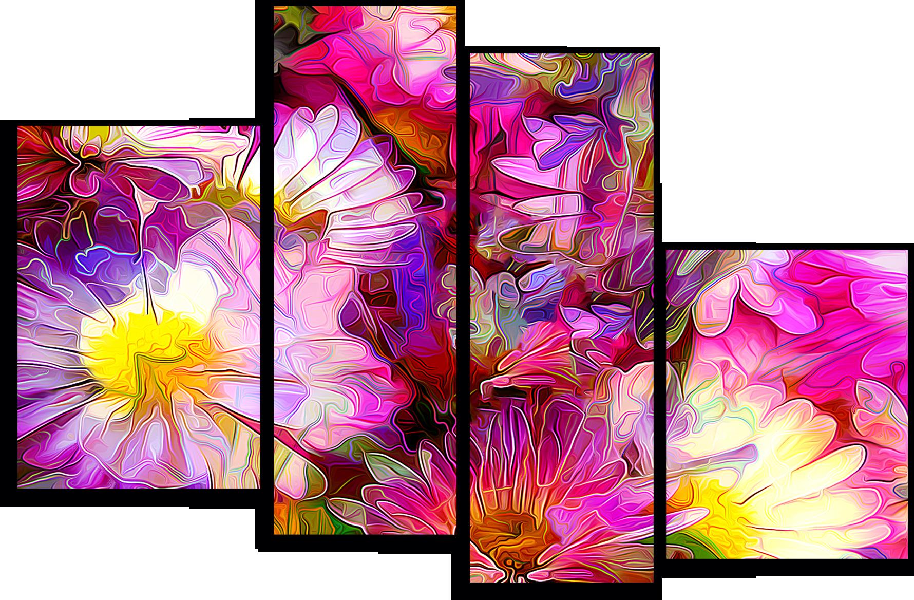 """Цветы Модульная картина """"Оттенки розового"""" М738.png"""