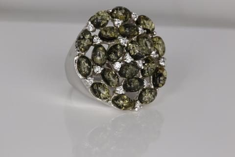 Кольцо с янтарем и цирконом из серебра 925