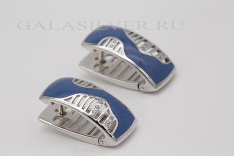 Серьги с эмалью и фианитом из серебра 925