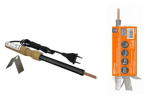 Паяльник ЭПЦН-25, деревянная ручка, мощность 25 Вт, 230 В, подставка в комплекте,